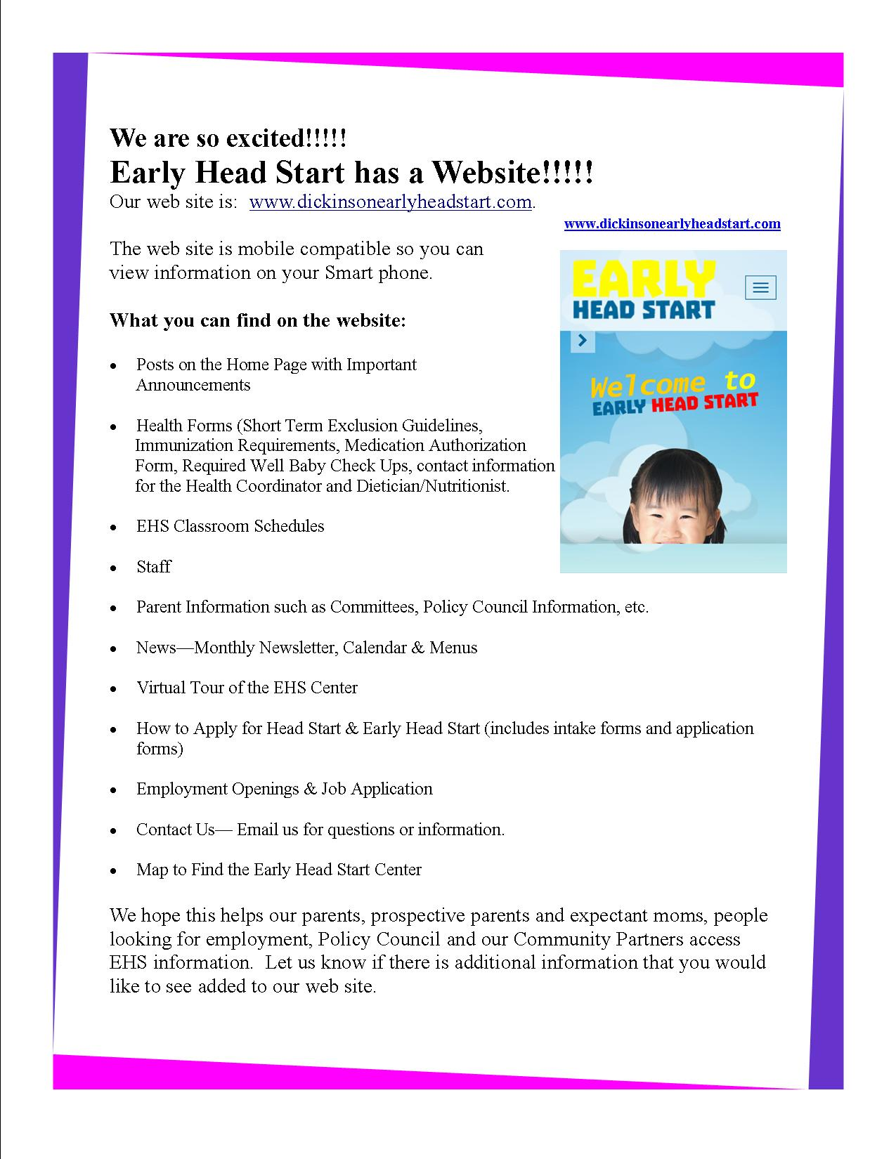 Announcing the new early head start website announcing ehs web site 42015 falaconquin